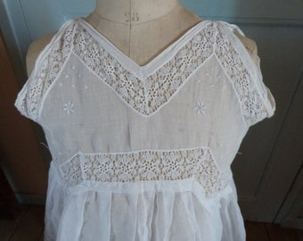 Antique French white hand made lace summer girl's broderie dress w hand embroidery lace 1900s baptism dress christening gown, girls clothing