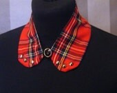 Peter Pan Collar - Detachable Bib Necklace Punk Faux Tartan Collar Accessory Studded Gothic Upcycled