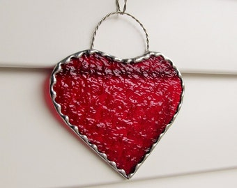 Scarlet Red Granite Glass Heart with Twisted Wire Hanger & Decorative Scalloped Foil Border - Valentine Gift
