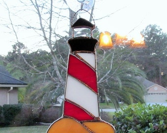 Lighthouse in Red and White Opalescent  Glass - Authentic Stained Glass
