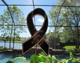 Black Opalescent Awareness Ribbon  - Stained Glass -  Garden/ Marker/Potted Plant Stake/Memorial Marker