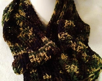 Christmas Clearance, Infinity camouflage crochet scarf,