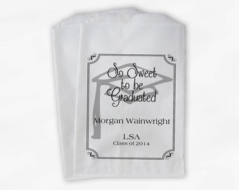 Graduation Favor Bags - 2017 Sweet to be Graduated Party Custom Favor Bags - Set of 25 Black and White Paper Treat Bags (0076)
