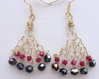 Gold Chandelier Earrings Knitted Wire Wrapped Beaded Black Red Crystals