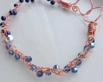 Copper Rose Gold Wire Bracelet Blue Crystals Pearls Knit Crochet Wire