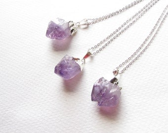 Sterling Silver Dipped Amethyst Necklace, Sterling Silver Filled Necklace