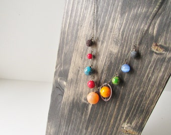 Planets Necklace / Solar System Necklace / Space Necklace / Planet Jewelry / Galaxy Necklace / Nebula Necklace