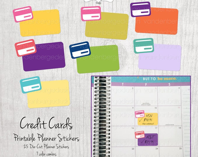 Sale! Planner Calendar Stickers-Credit Cards- Set of 25- Perfect for the Erin Condren Life Planner