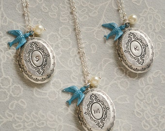 Silver Locket Bridesmaid Gift Locket Bridesmaid Jewelry Bridesmaid Necklace Mothers Day Gift Bridal Jewelry Rustic Wedding Blue Bird Locket