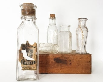 Vintage Food Bottles - Set of 5