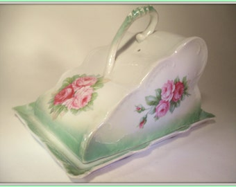 German Porcelain Covered Cheese Keeper