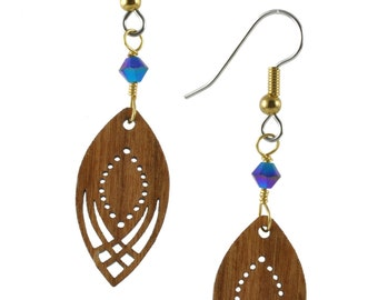 Wooden Earrings on Surgical Steel Wires