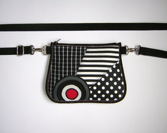 Fanny Pack Hip Purse Utility Belt bag -bike bicycle tote- Small Sling Bag Polka Dots Wallet mixed fabrics in Black White Red Gray