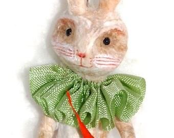 Spun cotton Easter Jack rabbit ornament vintage craft OOAK by jejeMae