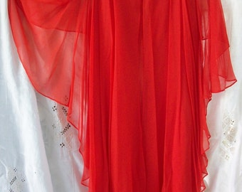 Vintage Dress ~ Chiffon Overlay ~ Pretty Coral Red Orange ~ Feminine Design  1950's / 60's era