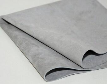 Light Gray Suede Genuine Leather, Soft Pigskin