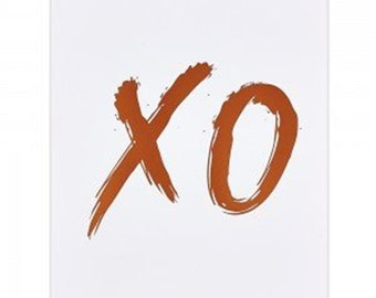 XO Hugs and kisses bronze/copper Foil Metallic Print 8 by 10 inches