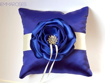 Ivory and Royal blue Ring Bearer Pillow  MADE TO ORDER
