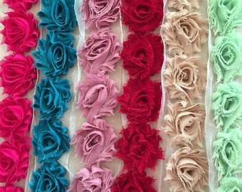 """By the Yard -Petite Shabby Flowers- 36 colors to choose from -1 1/2""""  - 20 Flowers per full yard 10 Flowers per half yard"""