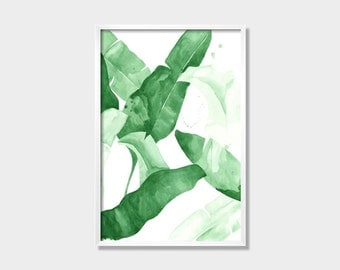 """20 x 30 """"Beverly II"""" Tropical Banana Palm Leaves Watercolor Giclee Fine Art Print Poster of Original Painting"""