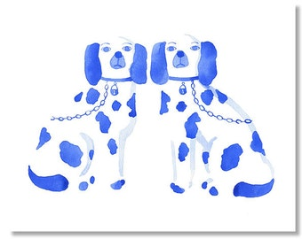 """Blue Staffordshire Dogs Watercolor Giclee Fine Art Print of Original Painting 8 x 10"""", 11 x 14"""""""