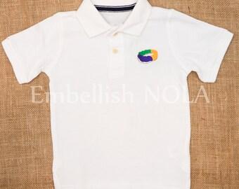 King Cake Embroidered Boys Collared Shirt Mardi Gras Shirt