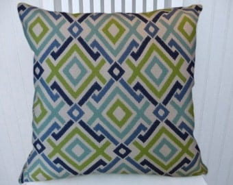 Blue, Green Geometric  Pillow Cover  Decorative Pillow Cover  18x18 or 20x20 or 22x22 Throw Pillow- Accent Pillow.