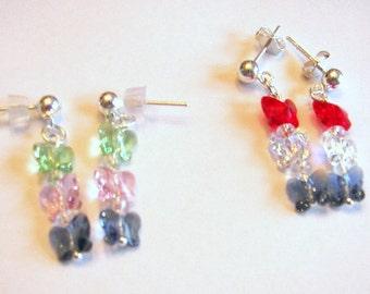 Summer Jewelry, Patriotic Earrings, Swarovski Crystal Butterfly Earrings, Triple Butterfly Earrings, Little Girl's Jewelry, Fourth of July