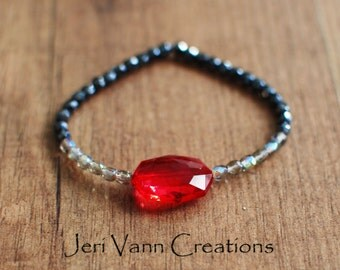 Black, Silver and Red Beaded Stretch Bracelet