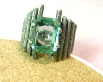 Vintage Hand Crafted Silver Ring with Green Stone -  No. 1467