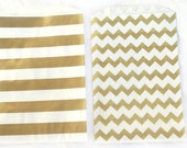 MeDiUM SiZe Metallic Gold stripe and chevron PaPER BAGs----party favors--gifts-20ct