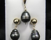 14kt Yellow Gold black Baroque Tahitian Pearl Pendant Necklace And Earring Sets