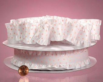 Polka Dotted Ruffle Ribbon white/pink color 1 1/2 inch wide selling by the yard