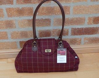 Bags and Purses Handbag Shoulder Bag Deep Red Wool Tweed Handbag ready to ship