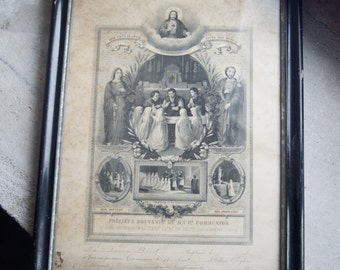 Antique French Print // 1898 Framed Communion Certificate in Wood and Plaster Frame