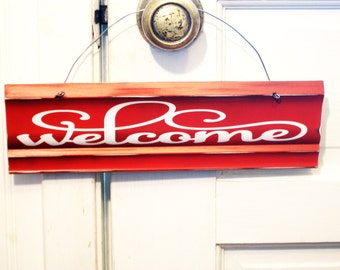 Red Welcome Sign - Welcome Door Sign - Red and White Welcome Sign - Housewarming Gift