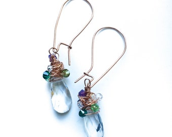 Beautiful and Unique Copper Earrings - Wire Wrapped Clear Crystal Briolette with Purple and Green Swarovski Crystals