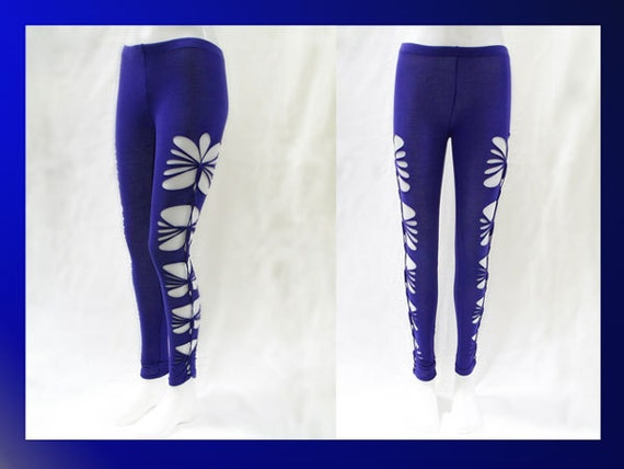 """SMALL - Womens / Juniors """"ROYAL TEASE"""" Bright Royal Blue Cut Up, Shredded and Weaved Leggings"""