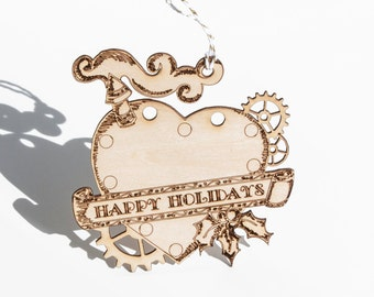 Laser Cut Plywood Ornament - Steampunk Heart - Happy Holidays