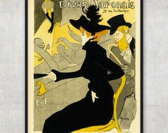 Divan Japonais Vintage Poster - Toulouse-Lautrec - LARGE Fine Art Print, P061