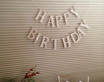Happy Birthday Banner Garland Silver German Glass Glitter Birthday Party Decor