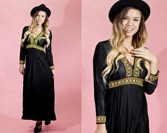 Vintage 1970s Black Bohemian Gold Empire Waist Maxi Dress