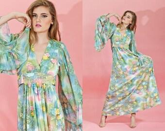 Vintage 1970s Green Watercolor Tropical Maxi Dress