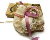 Vintage Handmade Beaded Dove Ornament. Ivory. Pink. Green. Victorian Dove. Hand Embroidered. Bird Ornament. One (1)