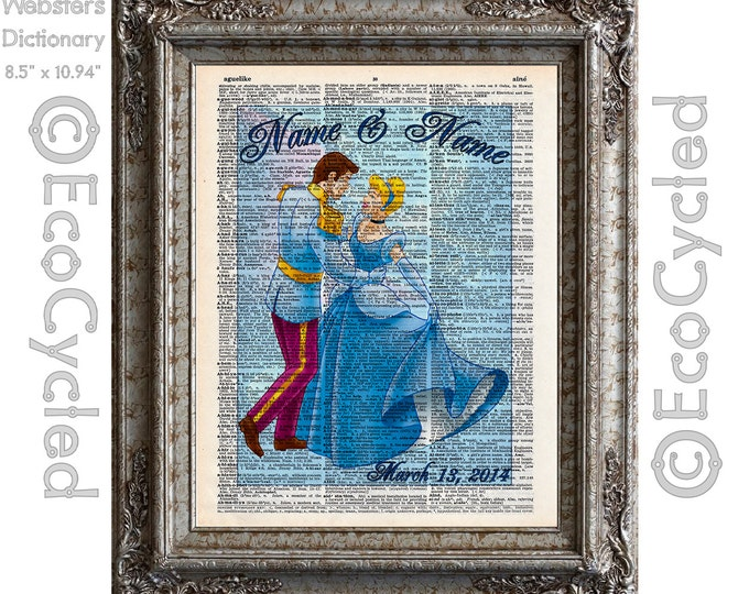 Cinderella & Prince Charming Dancing with Names and Date on Vintage Upcycled Dictionary Art Print Book Anniversary Wedding Romance Custom