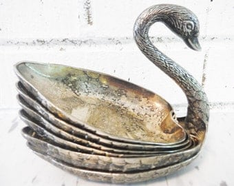 Vintage nut dishes swan silver plate party decor stacking bird fancy party wedding