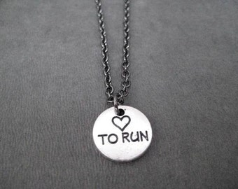 HEART TO RUN Round Pewter Pebble Charm Necklace on Gunmetal chain - Runners Heart - Love to Run - Heart to Run Jewelry - Running Necklace