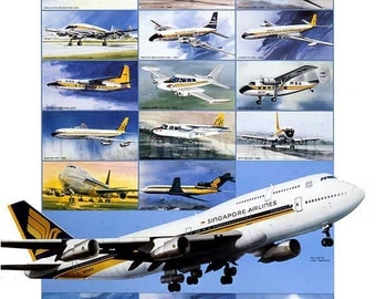 Vintage Singapore Airlines Poster advert 1987. 40 Years In Aviation 1947 to 1987. Instant Download - Printable Poster