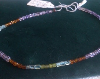 Amethyst, Aquamarine, Citrine and Peradot elongated Beads