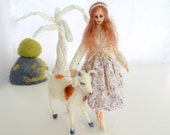 art doll needle felted goat totem collectible animal poseable wire armature soft sculpture Steadfast